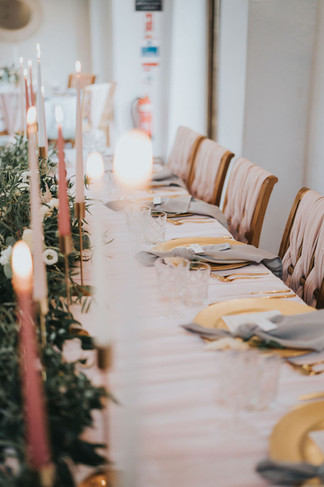 grey and blush pink wedding ideas top table