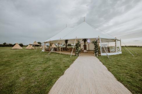 sami tipi two pole sailcloth at cattows farm wedding