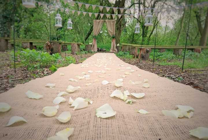 woodland wedding ceremony aisle runner hessian hire leicester