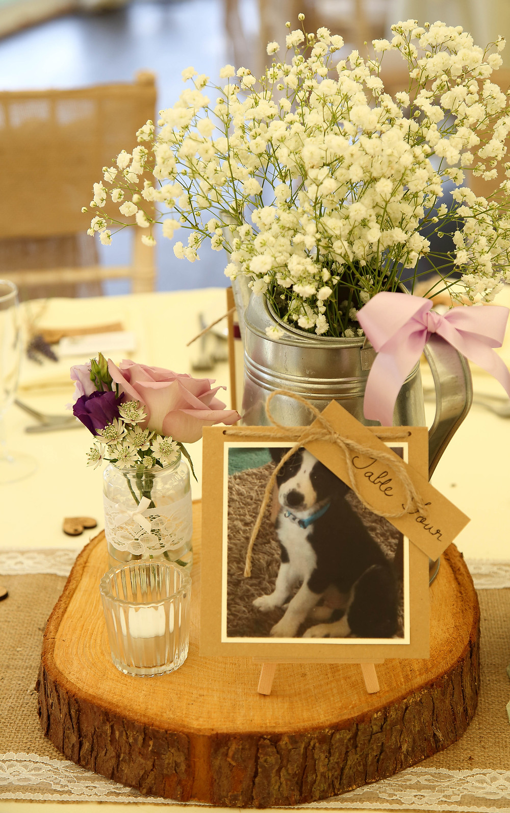 Rustic Log Slice Centre piece with Pets
