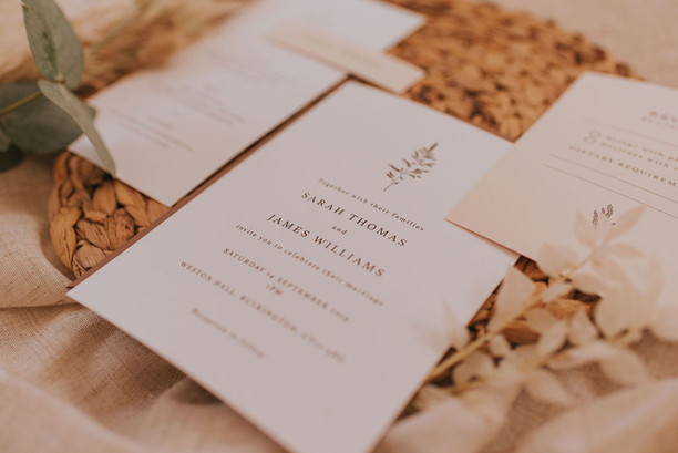 simple neutral wedding stationery