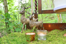 woodland wedding copper luxe stags and moss