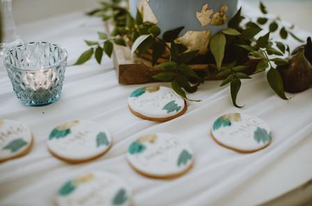 dusky blue wedding day favour cookies