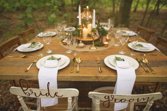 woodland wedding copper luxe table