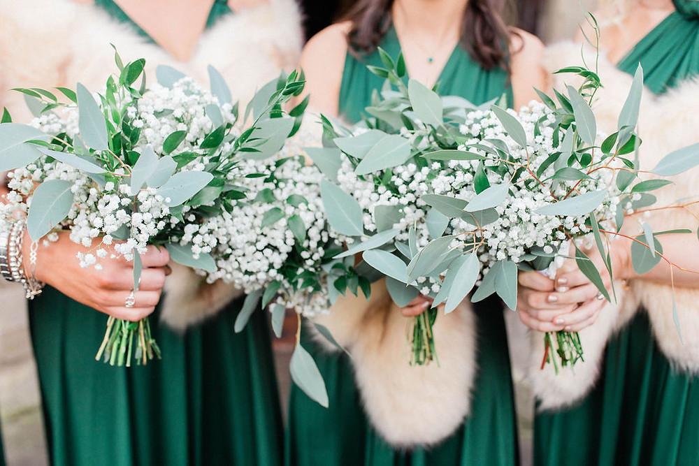eucalyptus and gypsophila bridesmaid bouquets