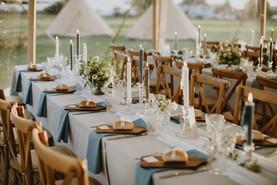 wedding table design for soup starter & bread boards