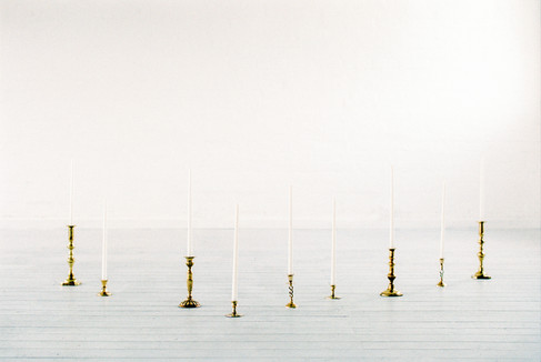 vintage brass candlesticks with tall taper candles
