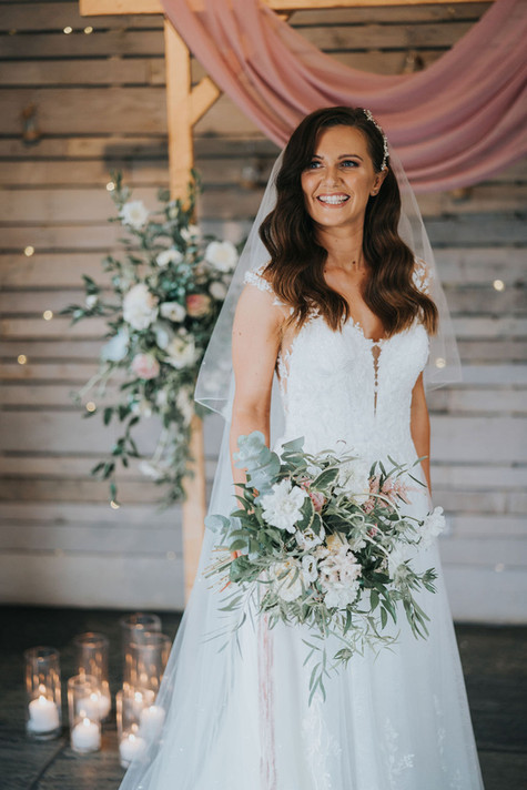 wedding flowers blush pink and loose with greenery