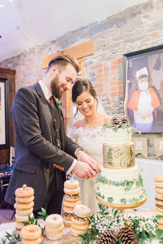 wedding cake and donut display