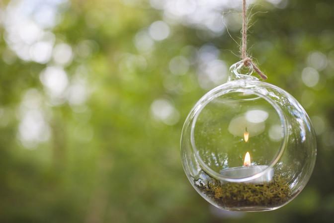 woodland wedding glass hanging tealights