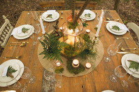 woodland wedding copper luxe table centre piece