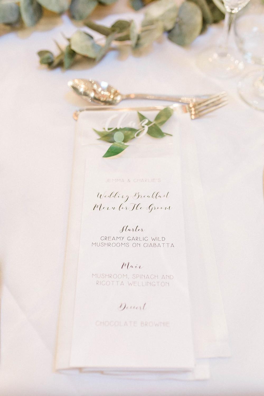 white wedding menus