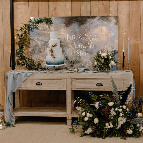 celestial cake backdrop dusky blue wedding crockwell farm