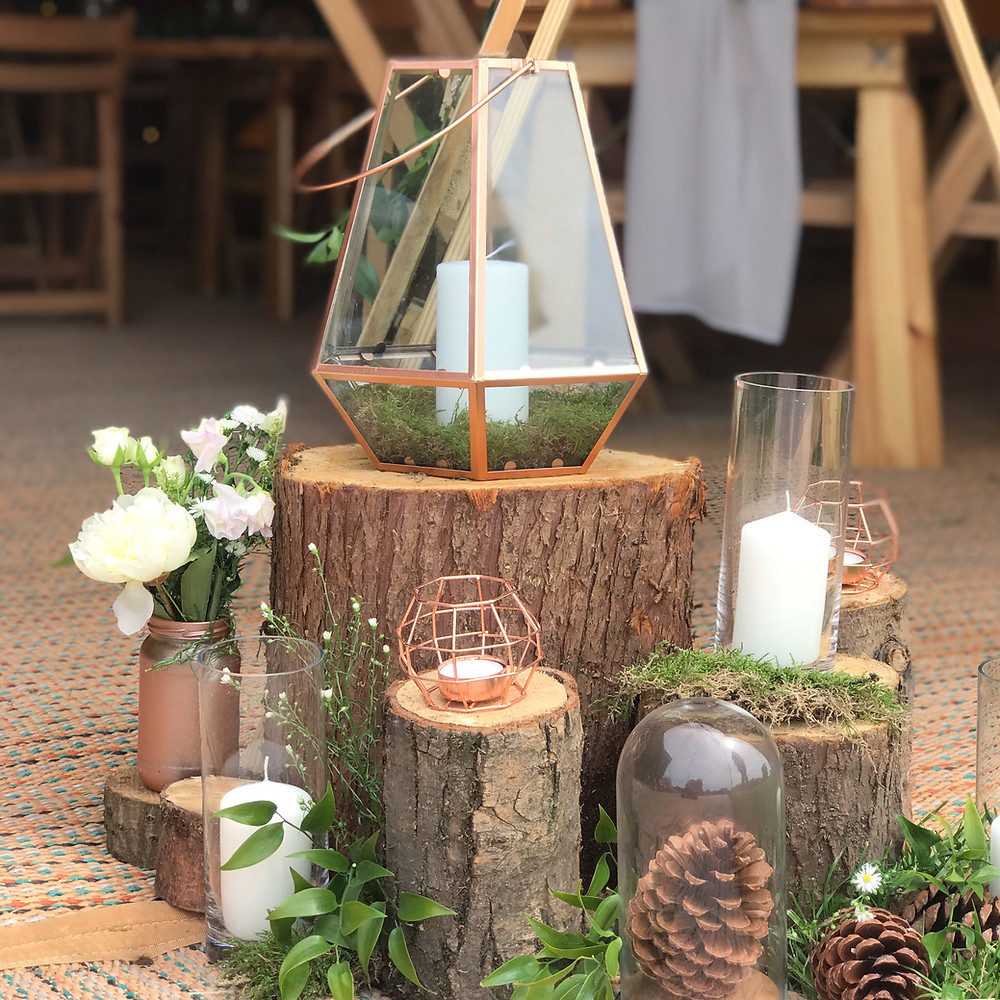 woodland wedding welcome area decoration ideas