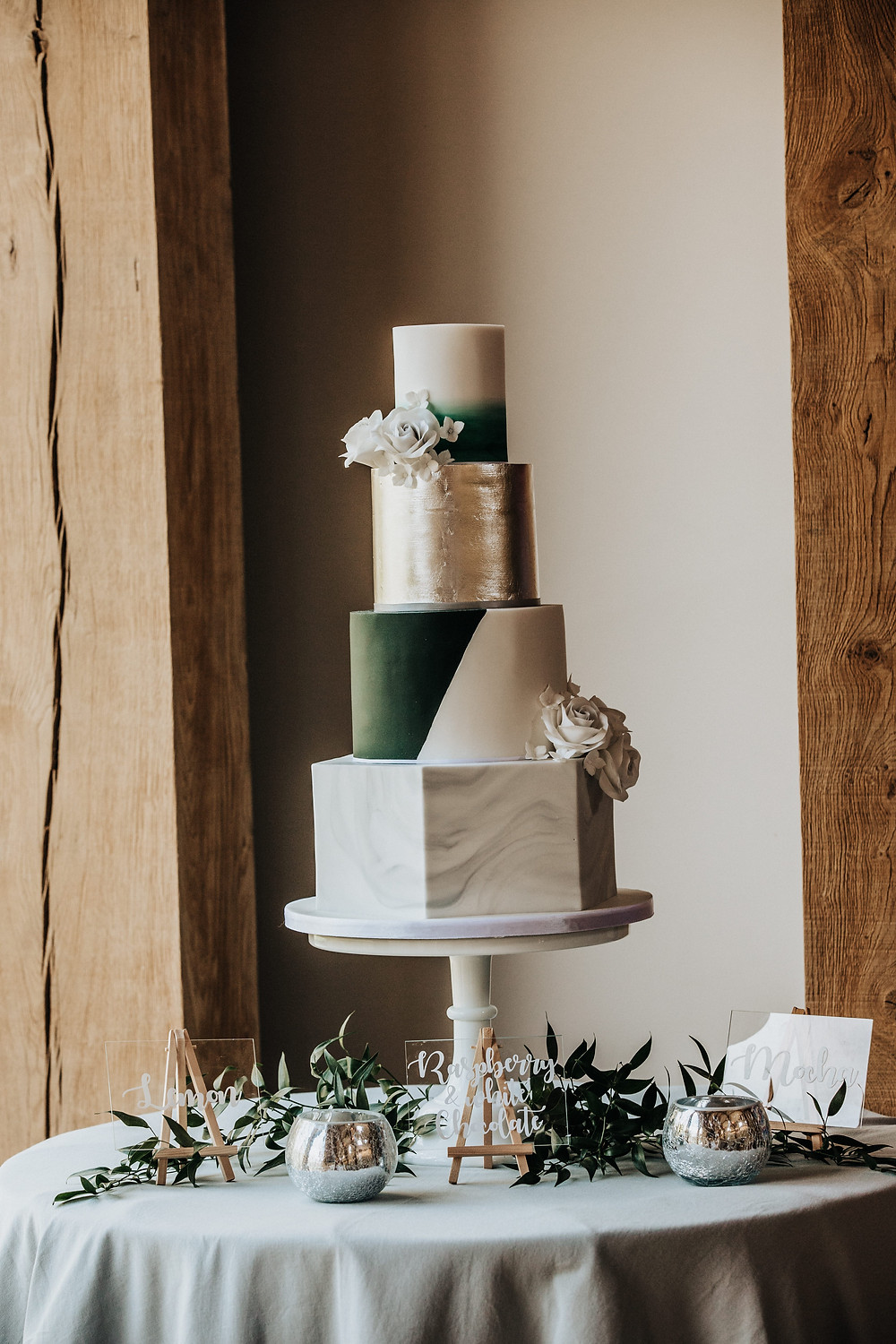 green and silver wedding cake