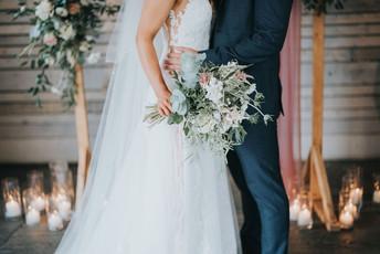 blush pink and white wedding bridal bouquet