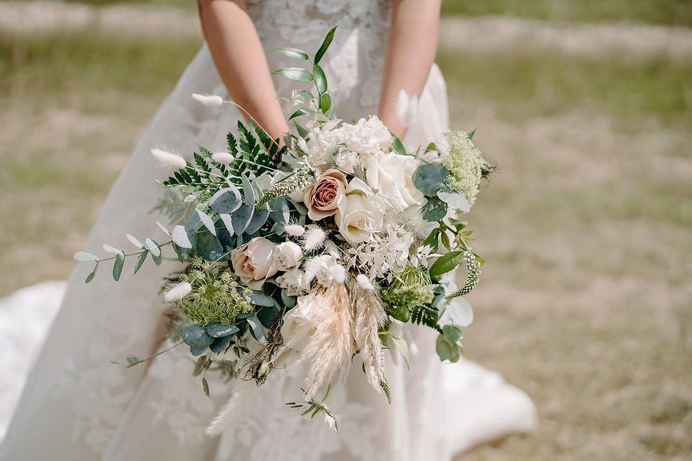 blush pink & white bride bouquet