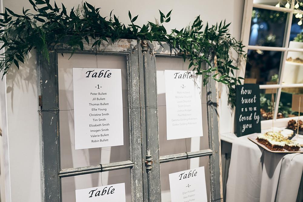vintage window table plan