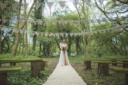 woodland wedding ceremony aisle