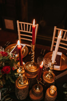 brass candlesticks rustic wedding