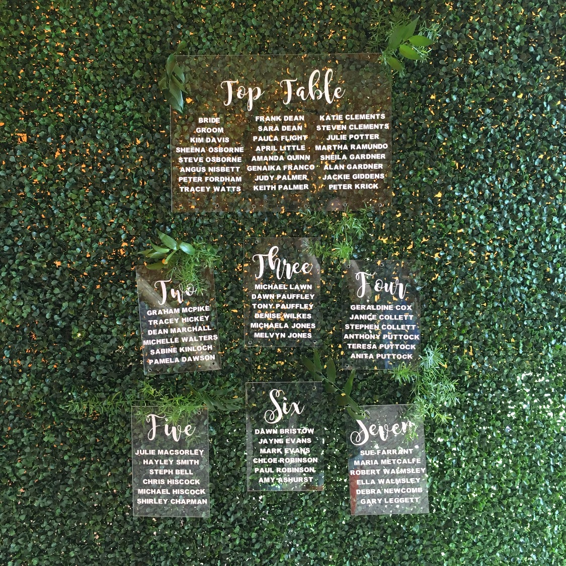 PERSPEX TABLE PLAN & TOPIARY