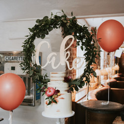 GREENERY HOOP CAKE BACKDROP SIGN