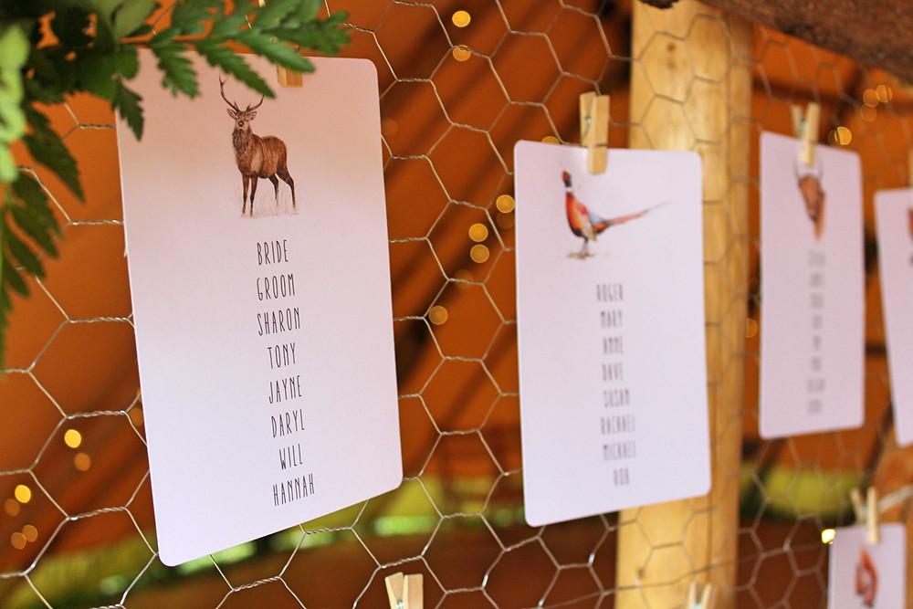 woodland wedding table plan