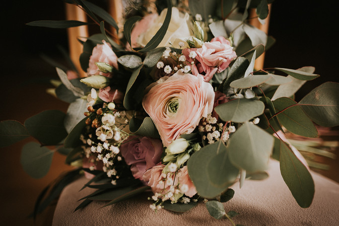 peach and blush pink flowers