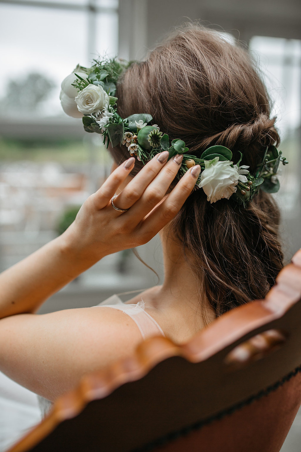 white and green flower crown bridal