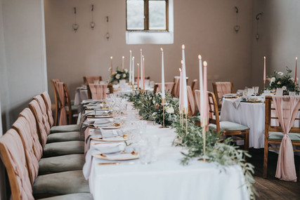 wedding day top table ideas with blush pink colour scheme
