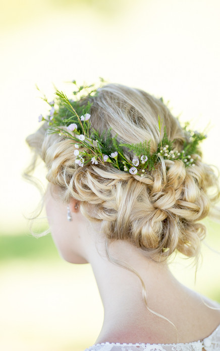 rustic wedding hair with foliage