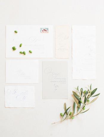 olive wedding stationery