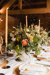 wedding floral yellow centrepiece arrangement