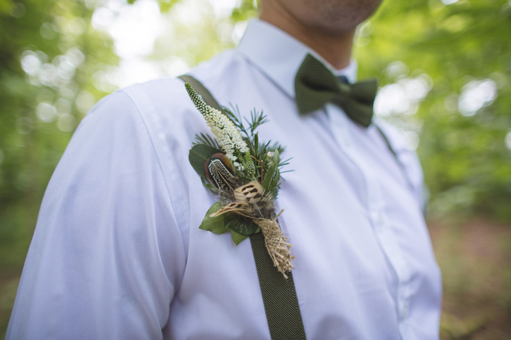 woodland wedding groom buttonhole