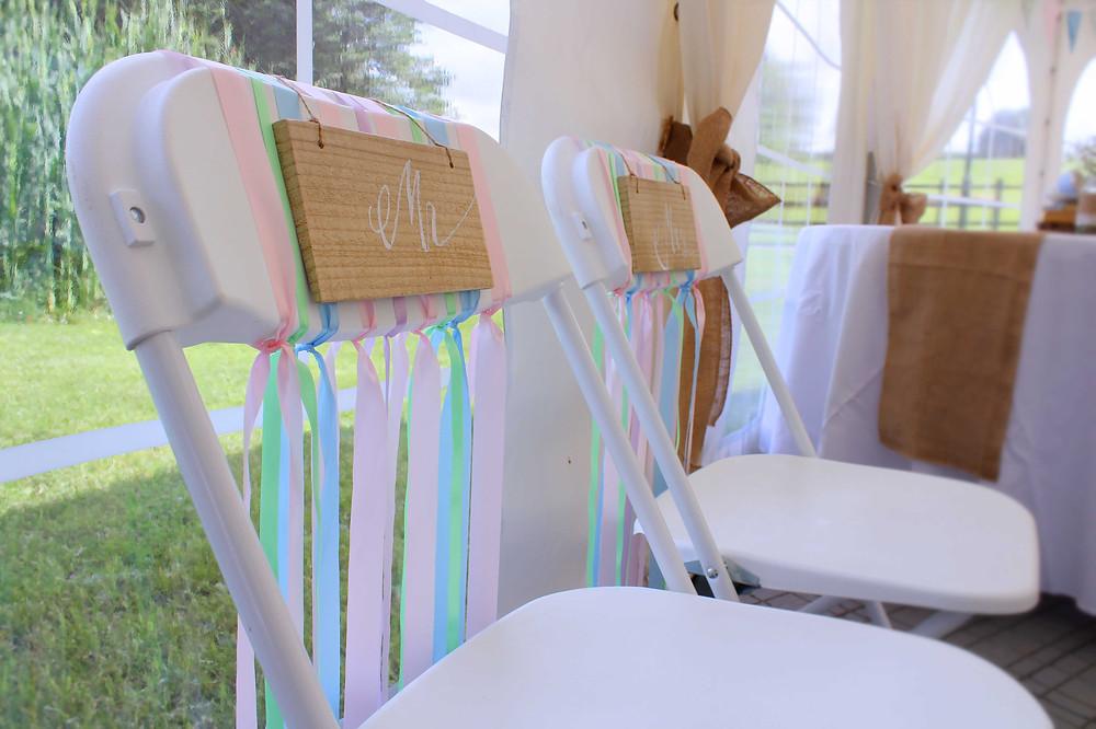 Bride & Groom Chair Ribbons