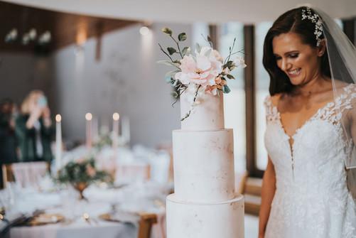 blush pink fondant wedding cake simple
