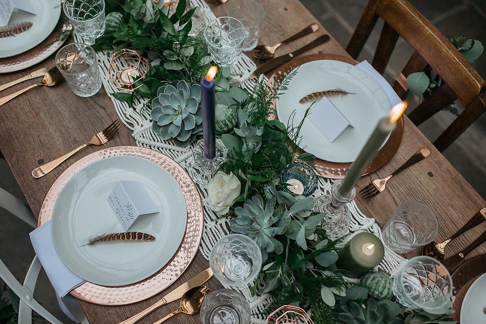 birds eye view wedding breakfast table foliage