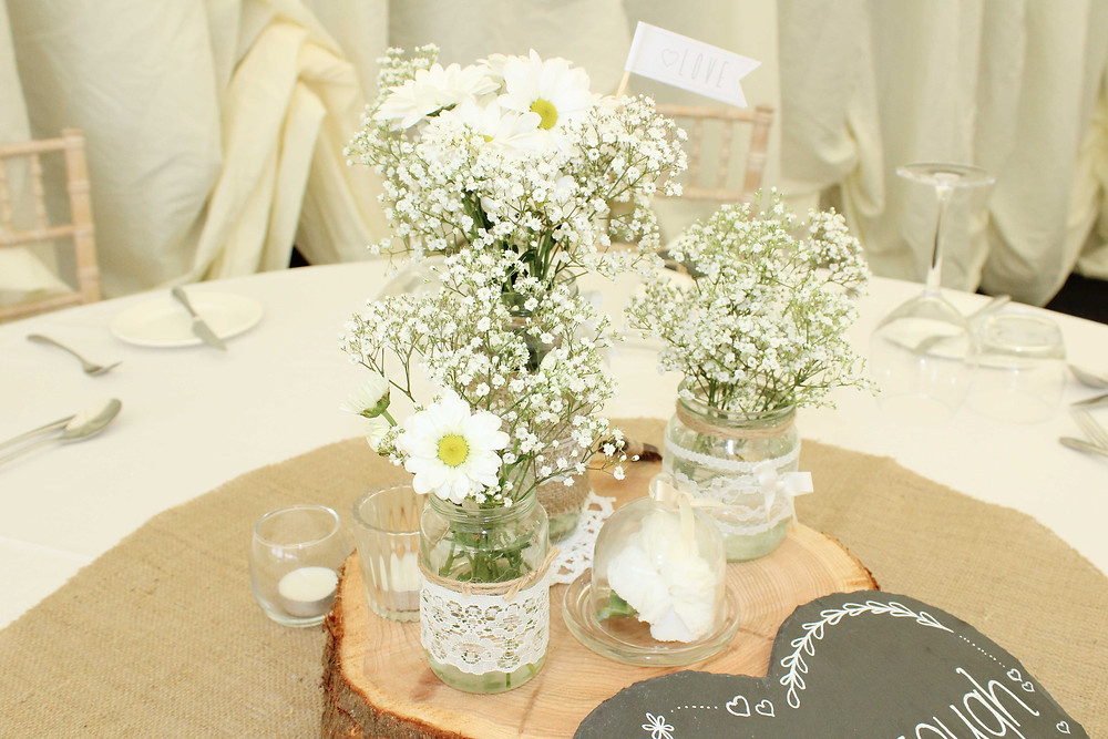 rustic log slice jam jar centre pieces