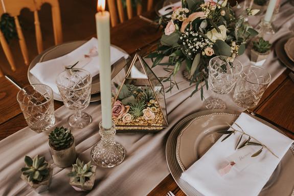 succulents at wedding
