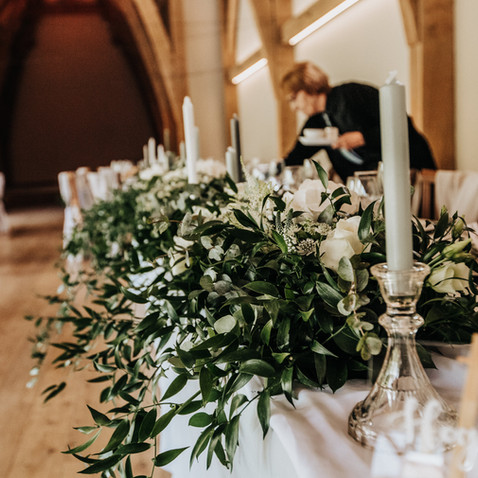 greenery garland top table the mill barns