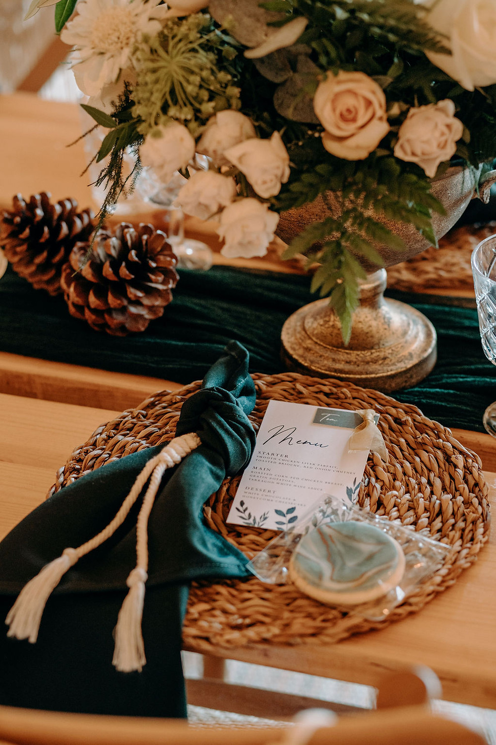 green and white wedding menu and place name