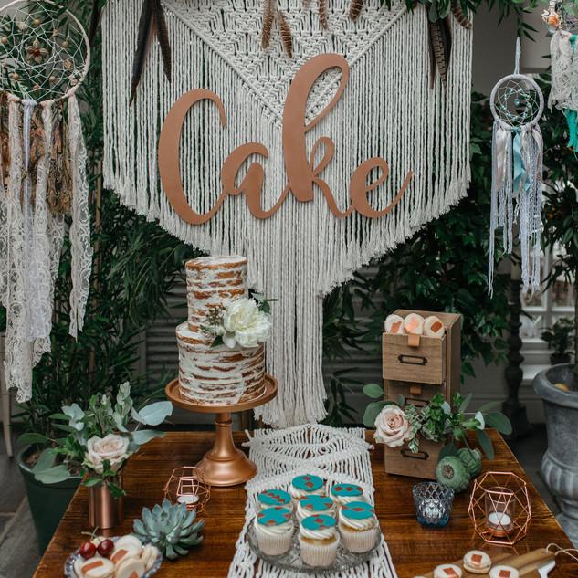 bohemian cake table ideas