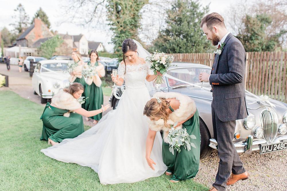 winter wedding bridesmaid dresses green