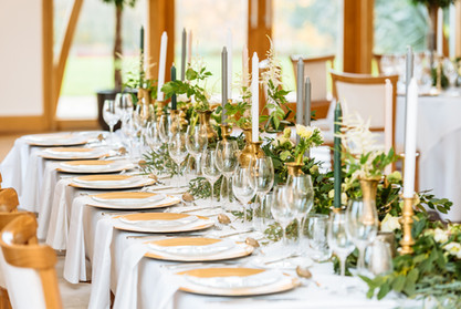 gold and green top table