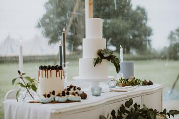 white wedding cake with dusky blue decoration