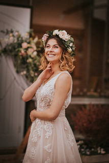 lace wedding dress and floral crown
