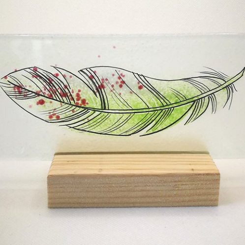 Green & pink fused glass feather