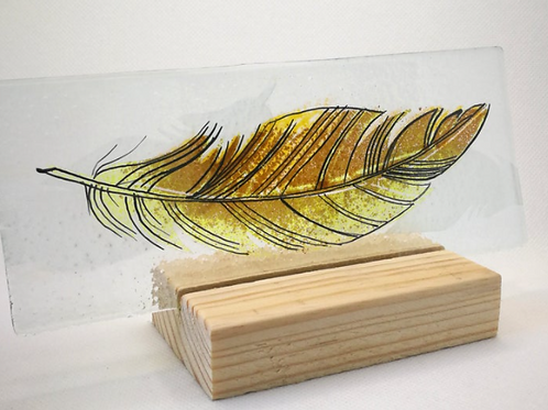 Amber fused glass feather