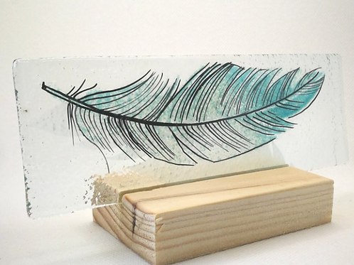 Blue fused glass feather