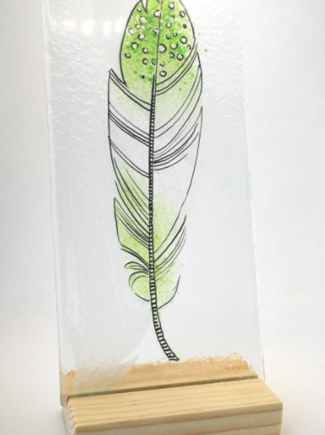 Green tip fused glass feather